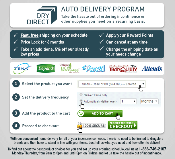 Dry Direct Adult Diaper Auto Delivery