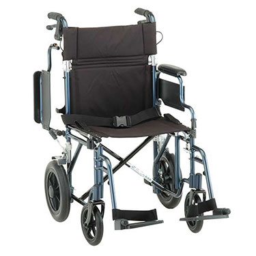 19 Inch Lightweight Transport Chair with Hand Brake Arms by Nova