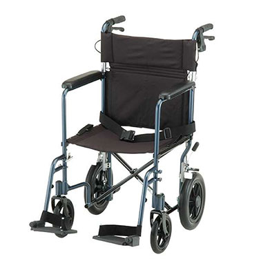 19 Inch Lightweight Transport Chair with Hand Brakes by Nova