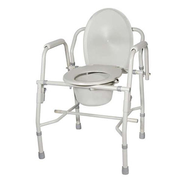 3-in-1 Steel Drop Arm Bedside Commode with Padded Arms