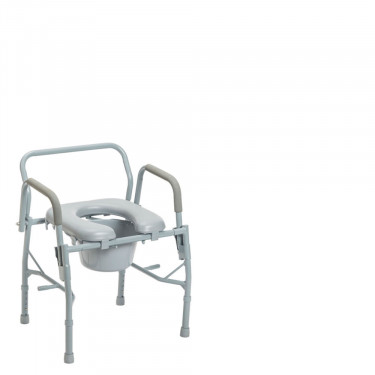 3-in-1 Steel Drop Arm Bedside Commode with Padded Seat by Drive Medical