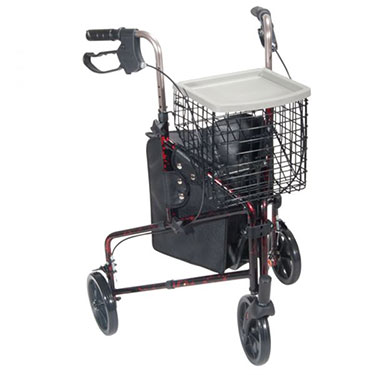 3 Wheel Aluminum Rollator With Tote And Basket By Drive