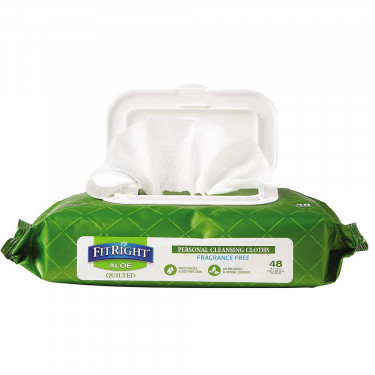 FitRight Aloe Personal Cleansing Wipes - Fragrance Free