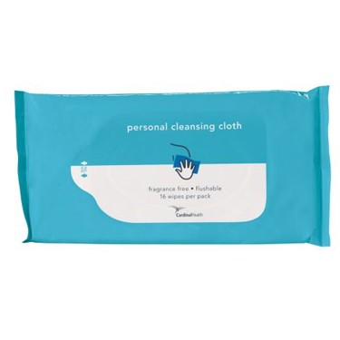 Cardinal Health Personal Washcloth, Unscented, Flushable