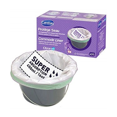Carebag Commode Liner with Super Absorbent Pad by Cleanis