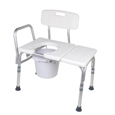 Carex Bathtub Transfer Bench with Cutout and Commode Pail