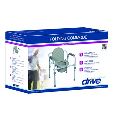 Deluxe Folding Bedside Commode by Drive Medical