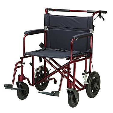 "Drive 22"" Bariatric Transport Chair with 12"" Rear Flat Free Wheels"