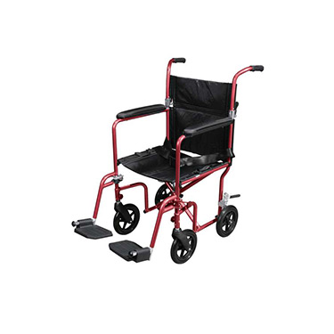 Flyweight Lightweight Transport Wheelchair with Removable Wheels