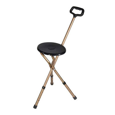Folding Lightweight Adjustable Height Cane with Seat by Drive