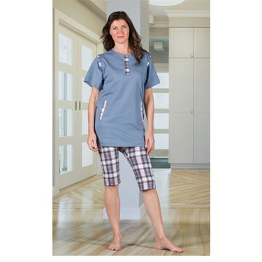 Ladies Anti-Strip Jumpsuit with a Zipper-Back, Short Legs, and Short Sleeves by 4Care