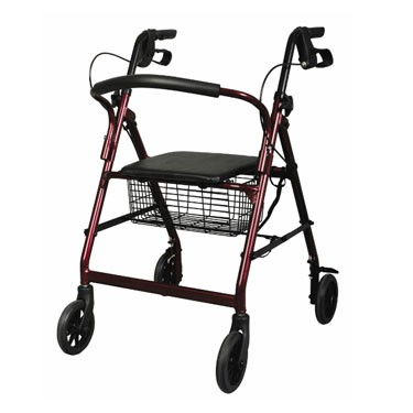 Medline Height Adjustable Aluminum Rollator with 6