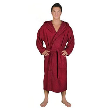 Men's Classic Hooded Bathrobe Turkish Cotton Terry Cloth Robe
