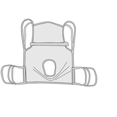One Piece Commode Four Point Sling with Positioning Strap