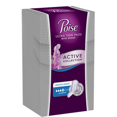 Poise Active Collection Incontinence Pads with Wings (Moderate Absorbency)