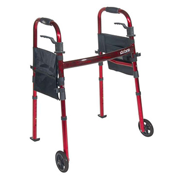 """Portable Folding Travel Walker with 5"""" Wheels and Fold up Legs by Drive Medical"""