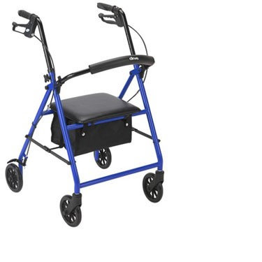Drive Medical Indoor / Outdoor Rollator Walker with Fold Up Padded Seat and 6