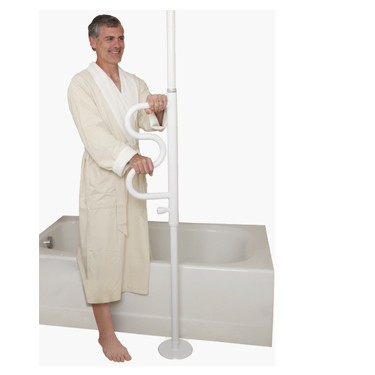 Security Pole & Curved Grab Bar by Stander