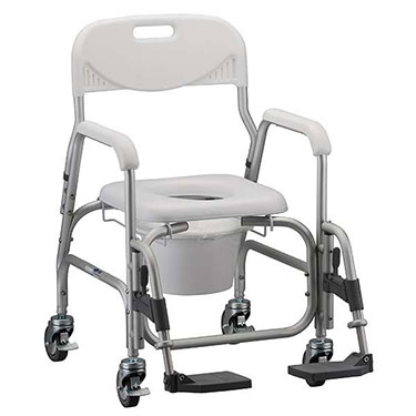 Shower Chair and Commode with Padded Seat & Swing Away Footrests by Nova