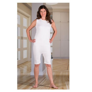 Unisex Sleeveless Bodysuit with Short Legs, Zippered Back and Crotch by 4Care