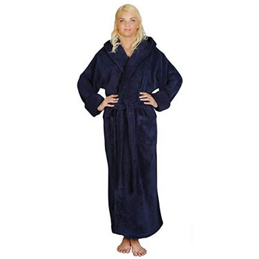 Women's Ankle Length Hooded Soft Twist Turkish Cotton Bathrobe