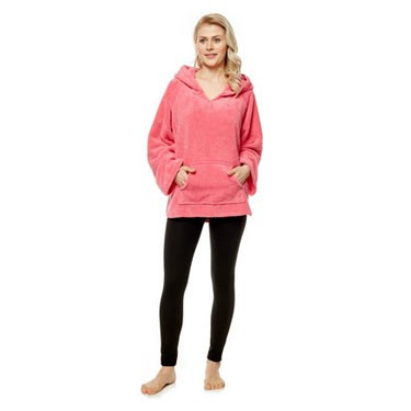 Women's Hooded Indoor Outdoor Pullover Robe Bed Jacket